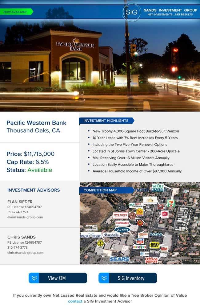 Sands Investment Group Email Blast Design